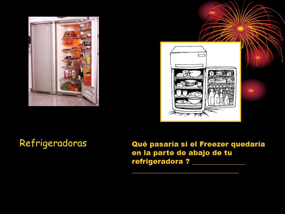 Refrigeradoras Qué pasaría si el Freezer quedaría en la parte de abajo de tu refrigeradora _______________.