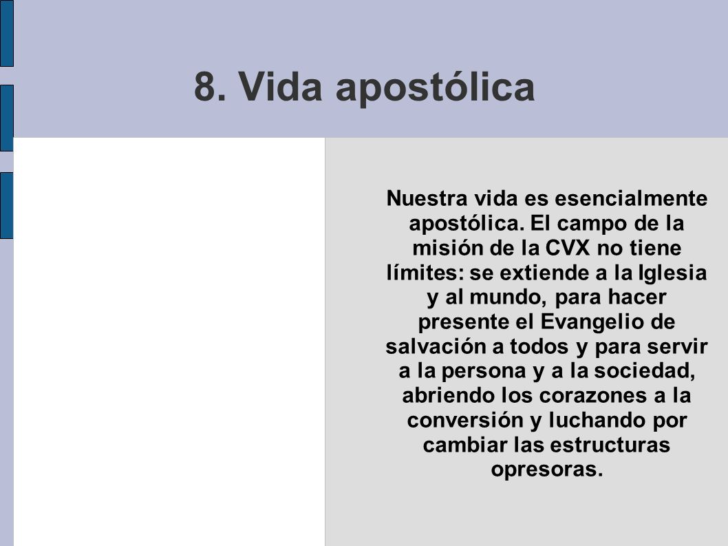 8. Vida apostólica