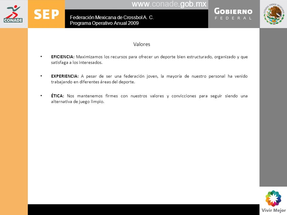 www.conade.gob.mx Valores