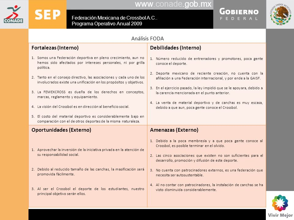www.conade.gob.mx Análisis FODA Fortalezas (Interno)