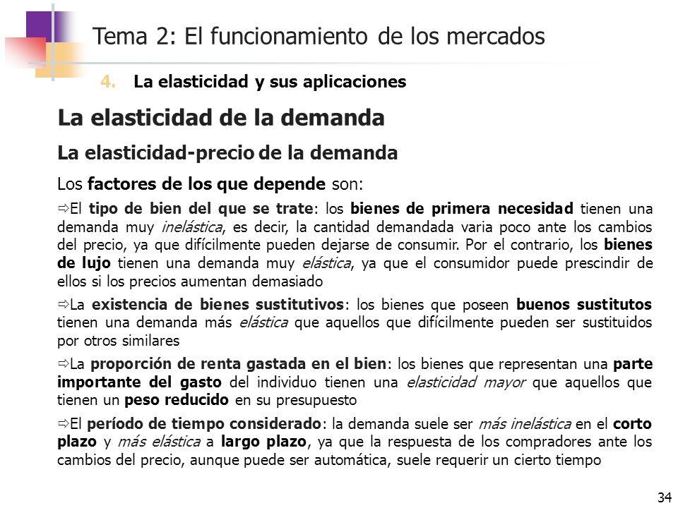 La elasticidad de la demanda