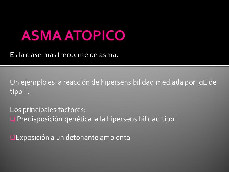 ASMA ATOPICO Es la clase mas frecuente de asma.