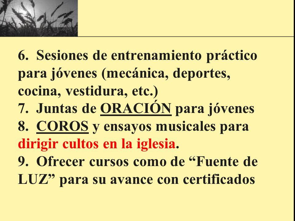 6. Sesiones de entrenamiento práctico para jóvenes (mecánica, deportes, cocina, vestidura, etc.) 7.