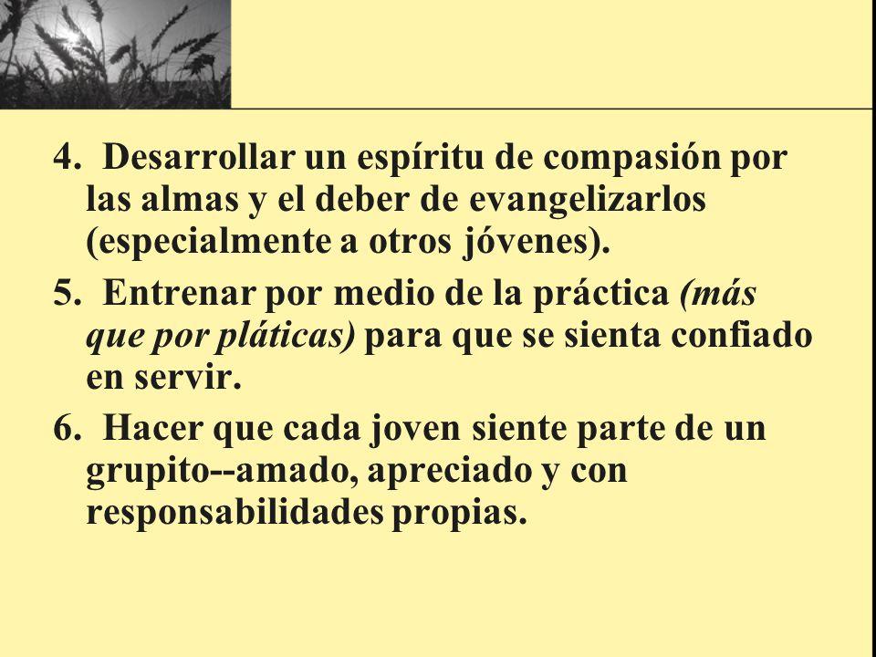4. Desarrollar un espíritu de compasión por las almas y el deber de evangelizarlos (especialmente a otros jóvenes).