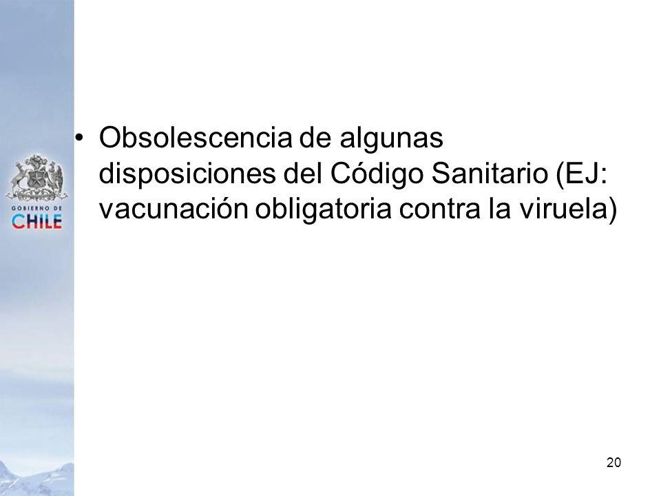 Obsolescencia de algunas disposiciones del Código Sanitario (EJ: vacunación obligatoria contra la viruela)
