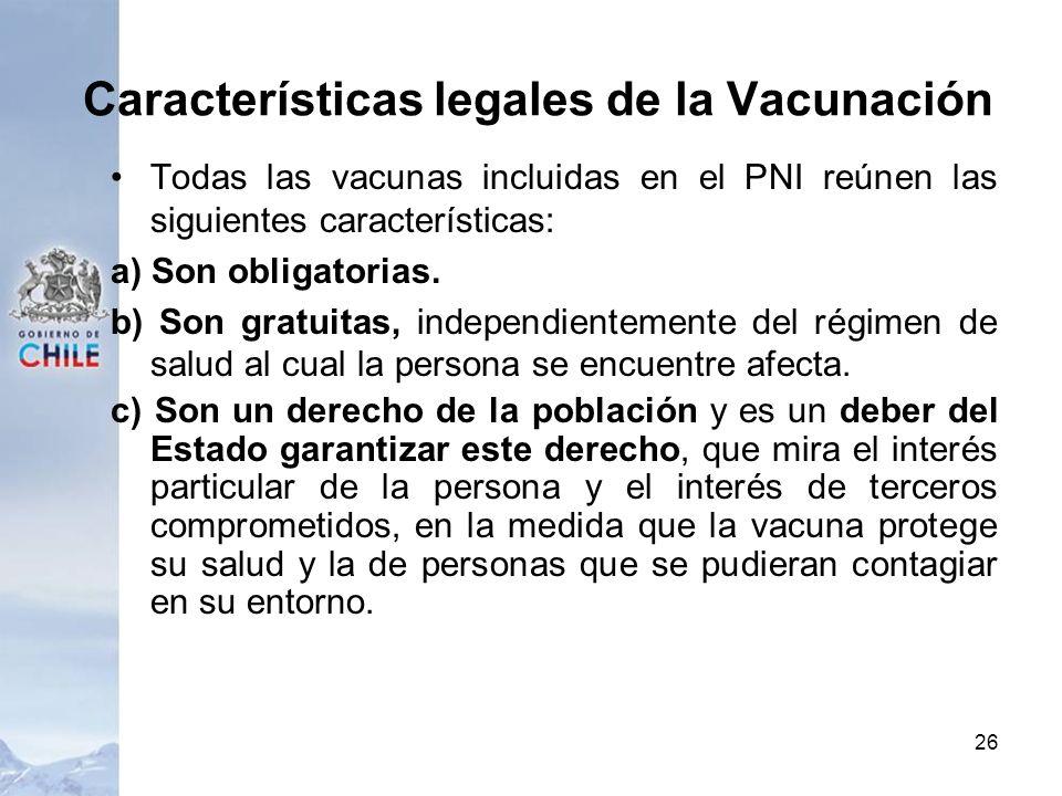 Características legales de la Vacunación