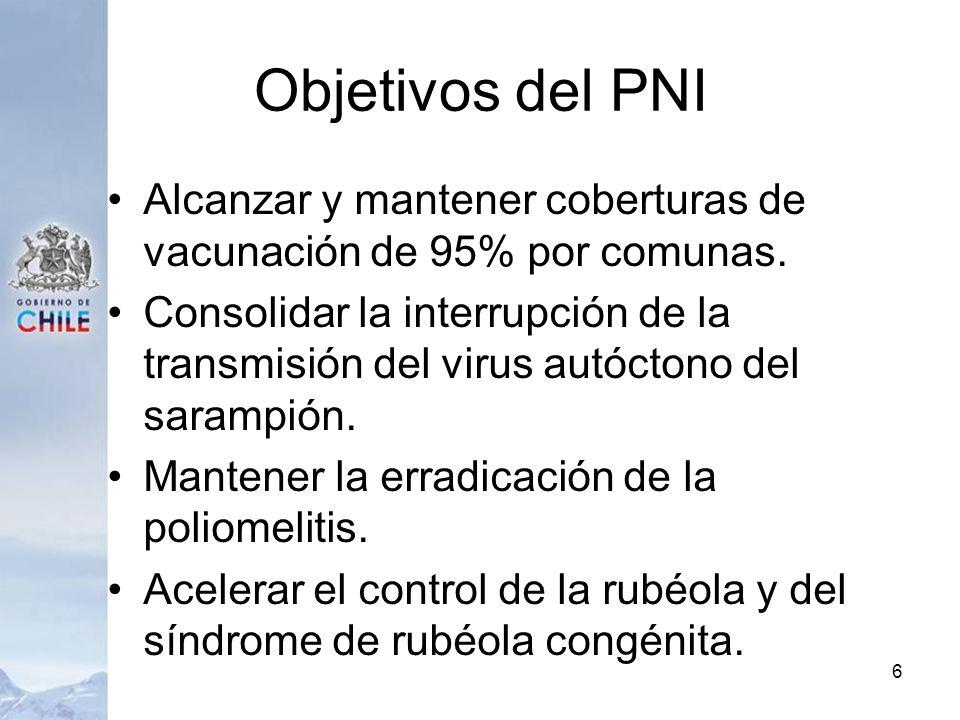 Objetivos del PNI Alcanzar y mantener coberturas de vacunación de 95% por comunas.