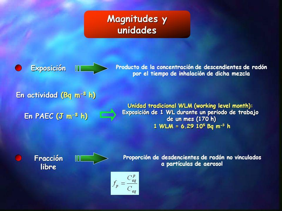 Magnitudes y unidades Exposición En actividad (Bq m-3 h)