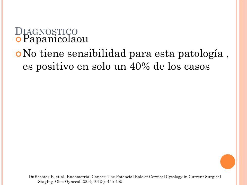 Diagnostico Papanicolaou. No tiene sensibilidad para esta patología , es positivo en solo un 40% de los casos.