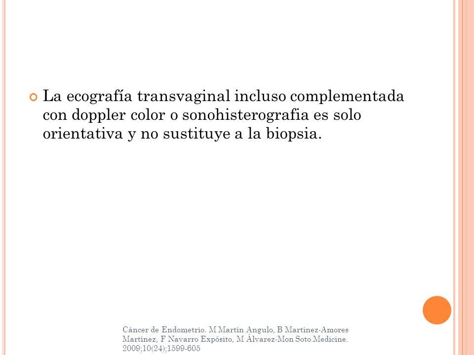 La ecografía transvaginal incluso complementada con doppler color o sonohisterografia es solo orientativa y no sustituye a la biopsia.