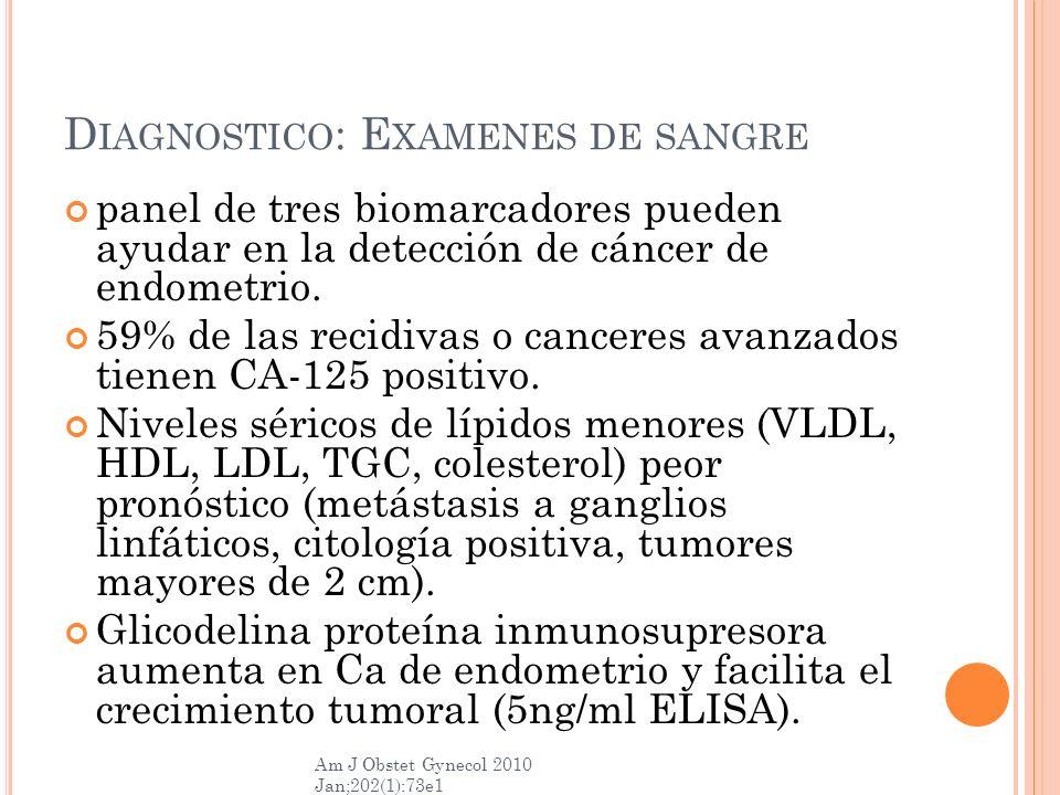 Diagnostico: Examenes de sangre