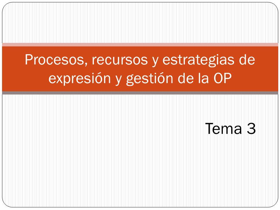 Procesos, recursos y estrategias de expresión y gestión de la OP