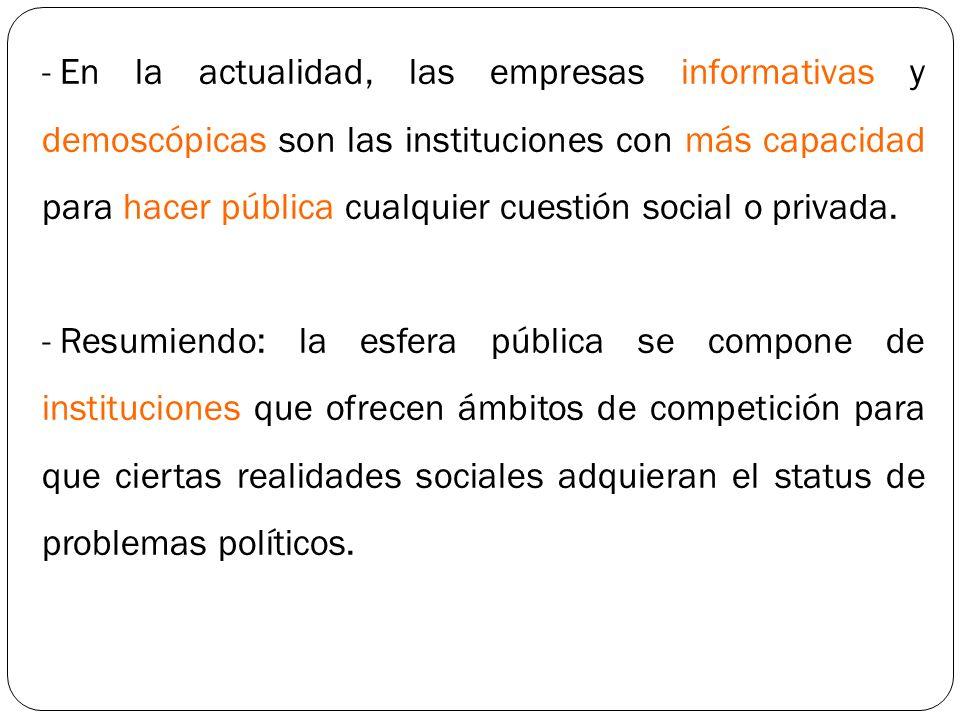 En la actualidad, las empresas informativas y demoscópicas son las instituciones con más capacidad para hacer pública cualquier cuestión social o privada.