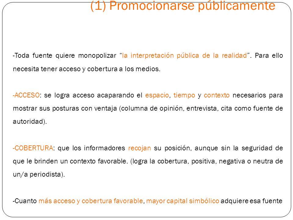 (1) Promocionarse públicamente