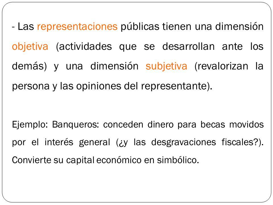 Las representaciones públicas tienen una dimensión objetiva (actividades que se desarrollan ante los demás) y una dimensión subjetiva (revalorizan la persona y las opiniones del representante).