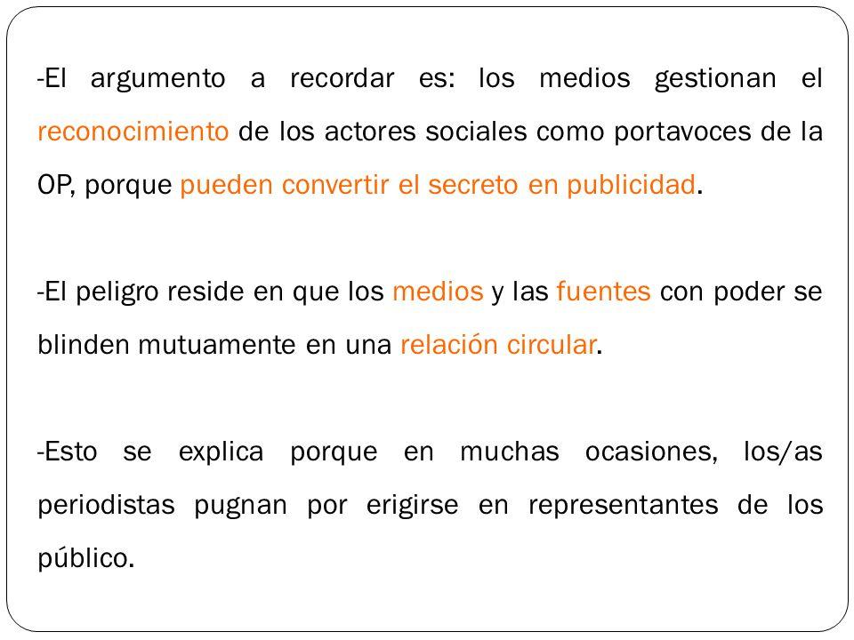 El argumento a recordar es: los medios gestionan el reconocimiento de los actores sociales como portavoces de la OP, porque pueden convertir el secreto en publicidad.