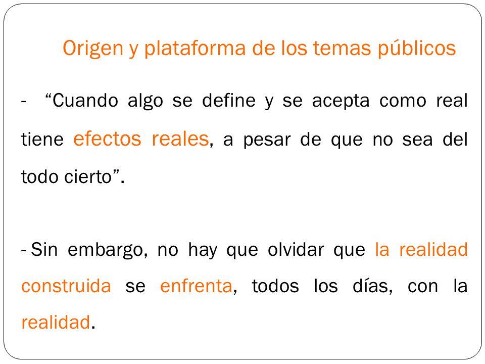 Origen y plataforma de los temas públicos