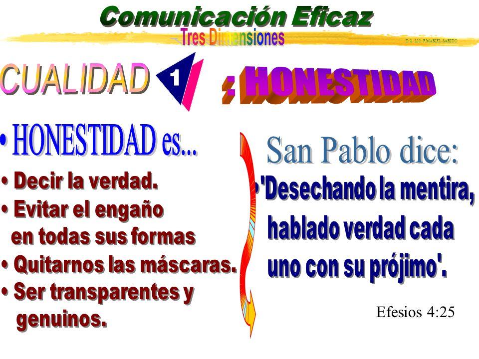 : HONESTIDAD • HONESTIDAD es... San Pablo dice: Efesios 4:25 CUALIDAD