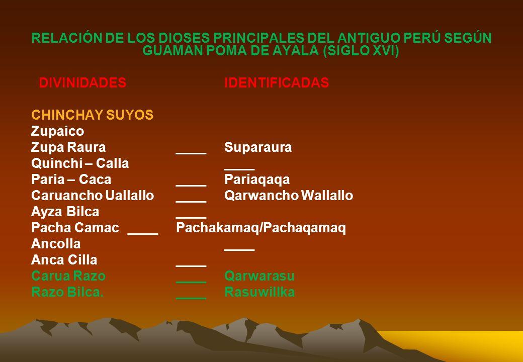 RELACIÓN DE LOS DIOSES PRINCIPALES DEL ANTIGUO PERÚ SEGÚN GUAMAN POMA DE AYALA (SIGLO XVI) DIVINIDADES IDENTIFICADAS CHINCHAY SUYOS Zupaico Zupa Raura ____ Suparaura Quinchi – Calla ____ Paria – Caca ____ Pariaqaqa Caruancho Uallallo ____ Qarwancho Wallallo Ayza Bilca ____ Pacha Camac ____ Pachakamaq/Pachaqamaq Ancolla ____ Anca Cilla ____ Carua Razo ____ Qarwarasu Razo Bilca.