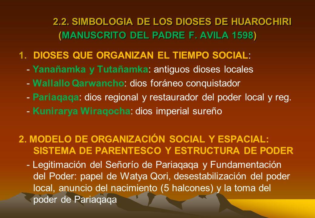 2. 2. SIMBOLOGIA DE LOS DIOSES DE HUAROCHIRI (MANUSCRITO DEL PADRE F