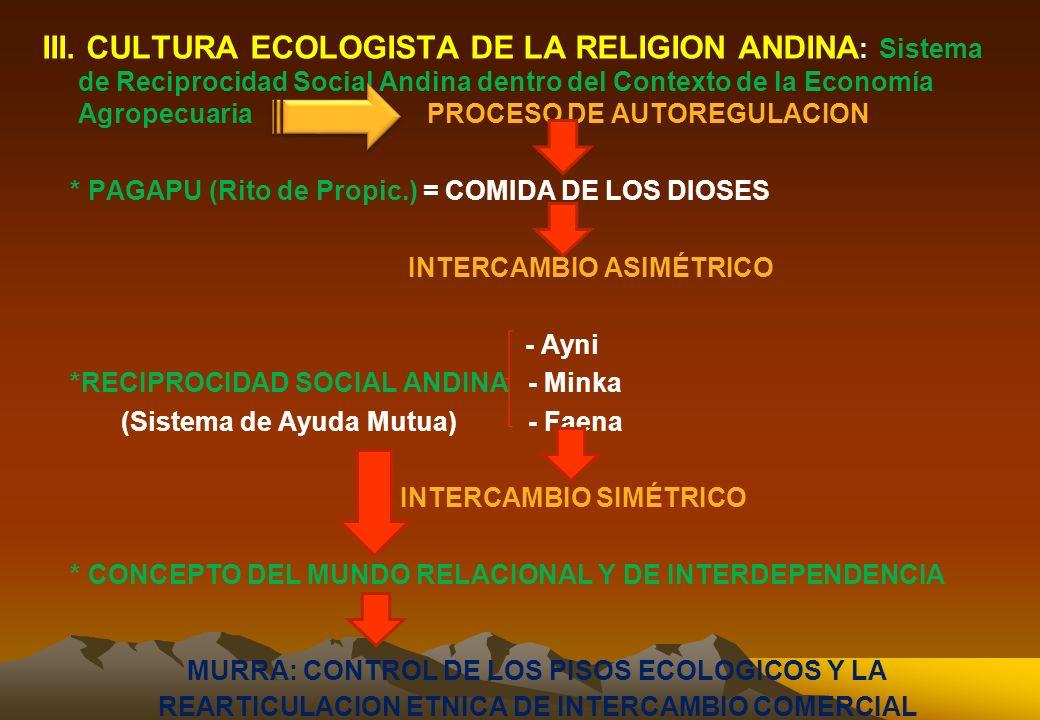 III. CULTURA ECOLOGISTA DE LA RELIGION ANDINA: Sistema de Reciprocidad Social Andina dentro del Contexto de la Economía Agropecuaria PROCESO DE AUTOREGULACION