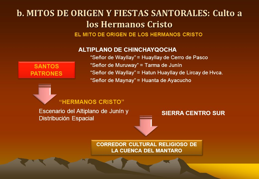 b. MITOS DE ORIGEN Y FIESTAS SANTORALES: Culto a los Hermanos Cristo