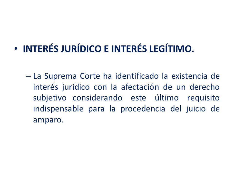 INTERÉS JURÍDICO E INTERÉS LEGÍTIMO.