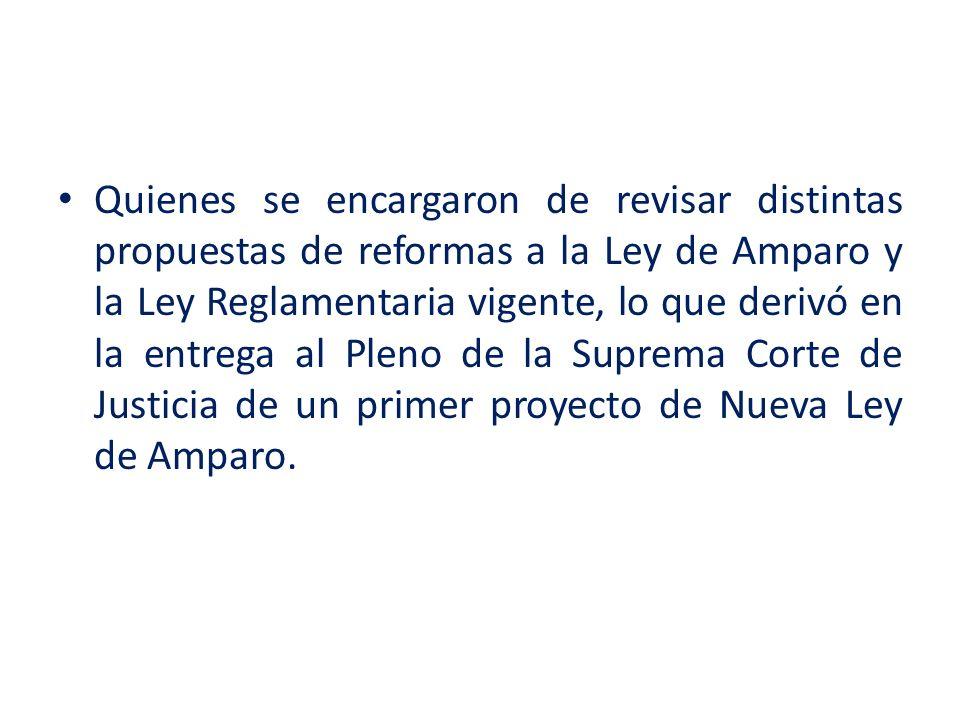 Quienes se encargaron de revisar distintas propuestas de reformas a la Ley de Amparo y la Ley Reglamentaria vigente, lo que derivó en la entrega al Pleno de la Suprema Corte de Justicia de un primer proyecto de Nueva Ley de Amparo.