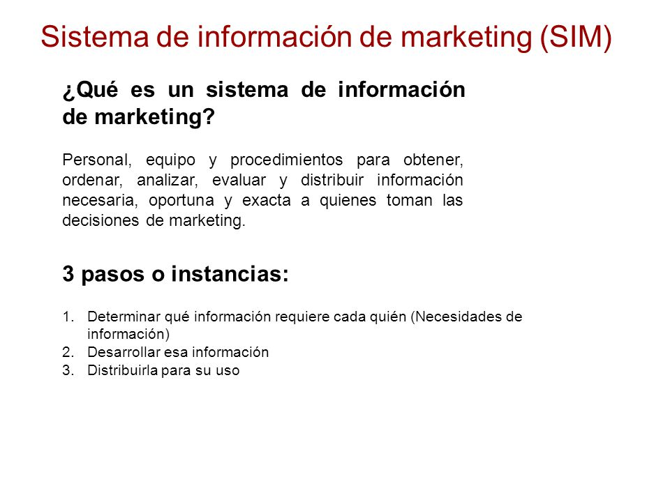Sistema de información de marketing (SIM)