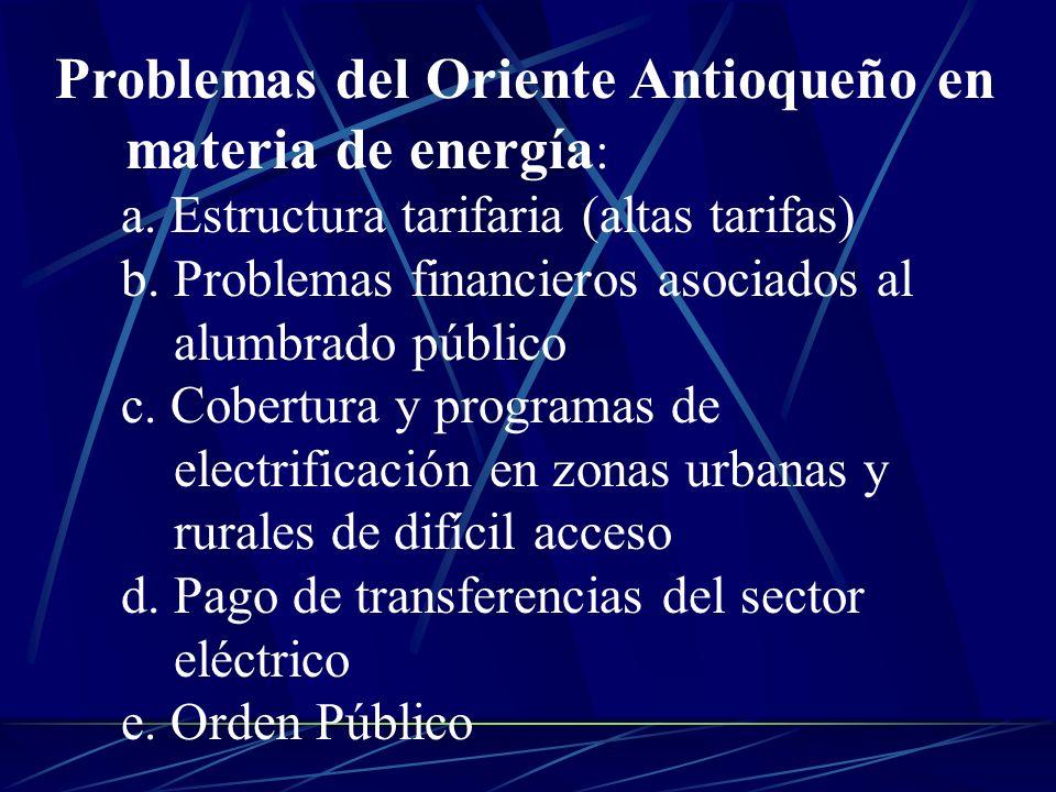 Problemas del Oriente Antioqueño en materia de energía: