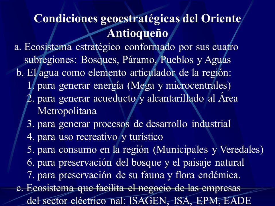Condiciones geoestratégicas del Oriente Antioqueño