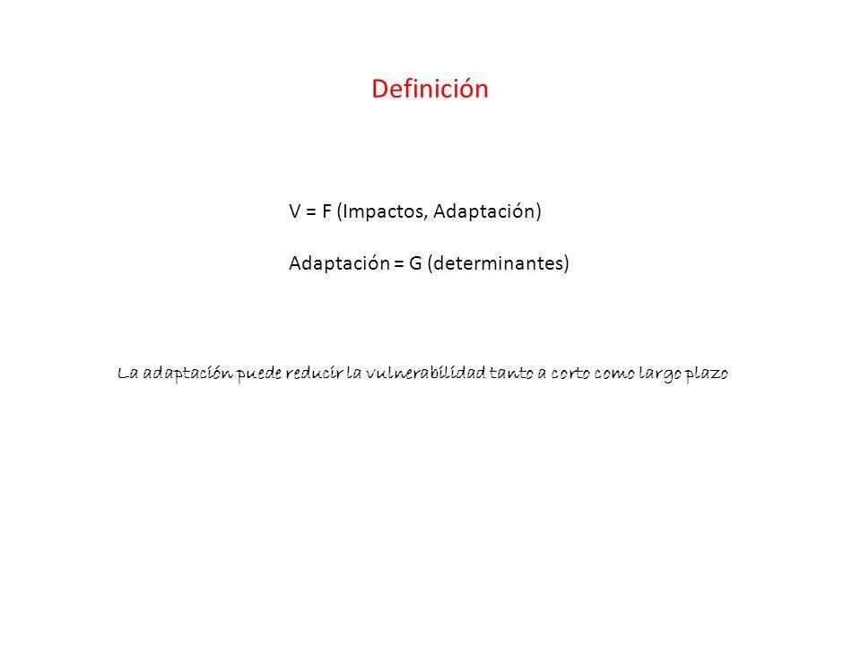 Definición V = F (Impactos, Adaptación) Adaptación = G (determinantes)