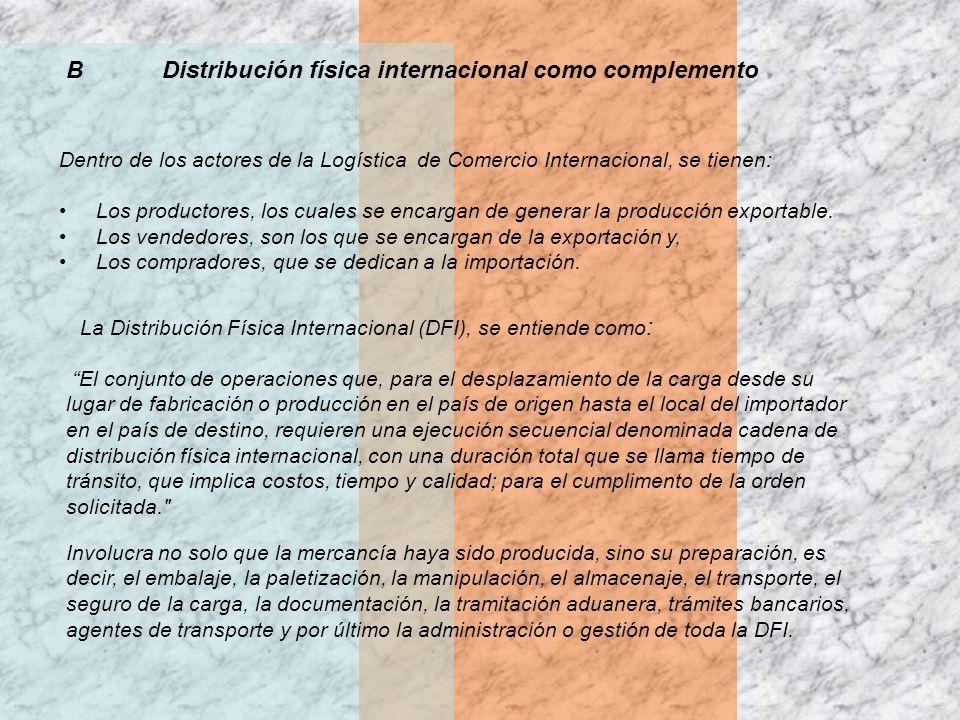B Distribución física internacional como complemento