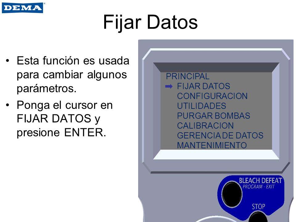 Fijar Datos Esta función es usada para cambiar algunos parámetros.