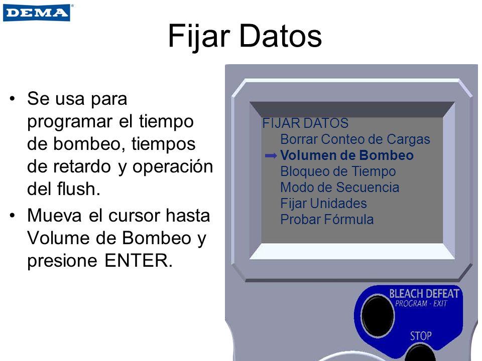 Fijar Datos Se usa para programar el tiempo de bombeo, tiempos de retardo y operación del flush.