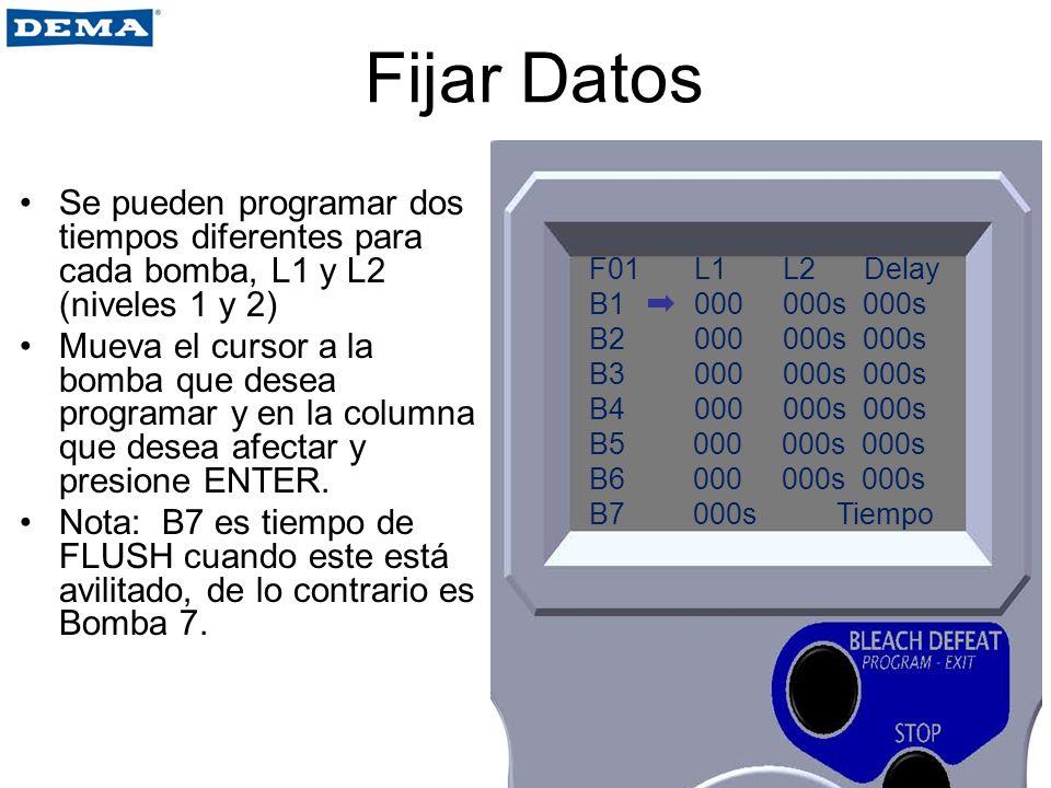 Fijar Datos Se pueden programar dos tiempos diferentes para cada bomba, L1 y L2 (niveles 1 y 2)