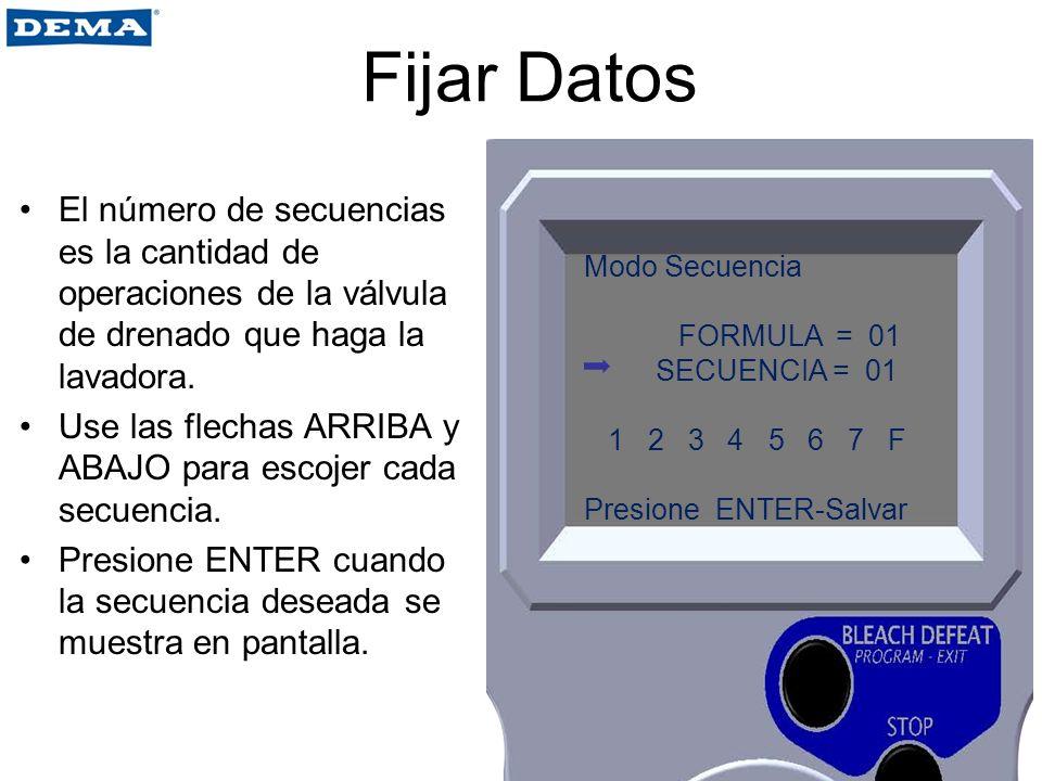 Fijar Datos El número de secuencias es la cantidad de operaciones de la válvula de drenado que haga la lavadora.
