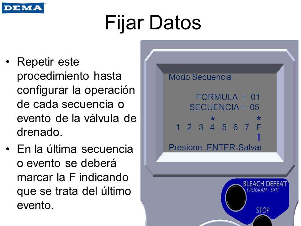 Fijar Datos Repetir este procedimiento hasta configurar la operación de cada secuencia o evento de la válvula de drenado.