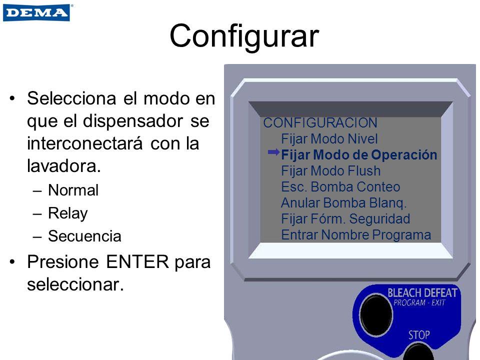 Configurar Selecciona el modo en que el dispensador se interconectará con la lavadora. Normal. Relay.