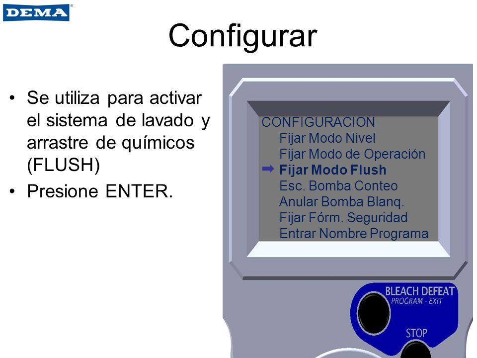 Configurar Se utiliza para activar el sistema de lavado y arrastre de químicos (FLUSH) Presione ENTER.