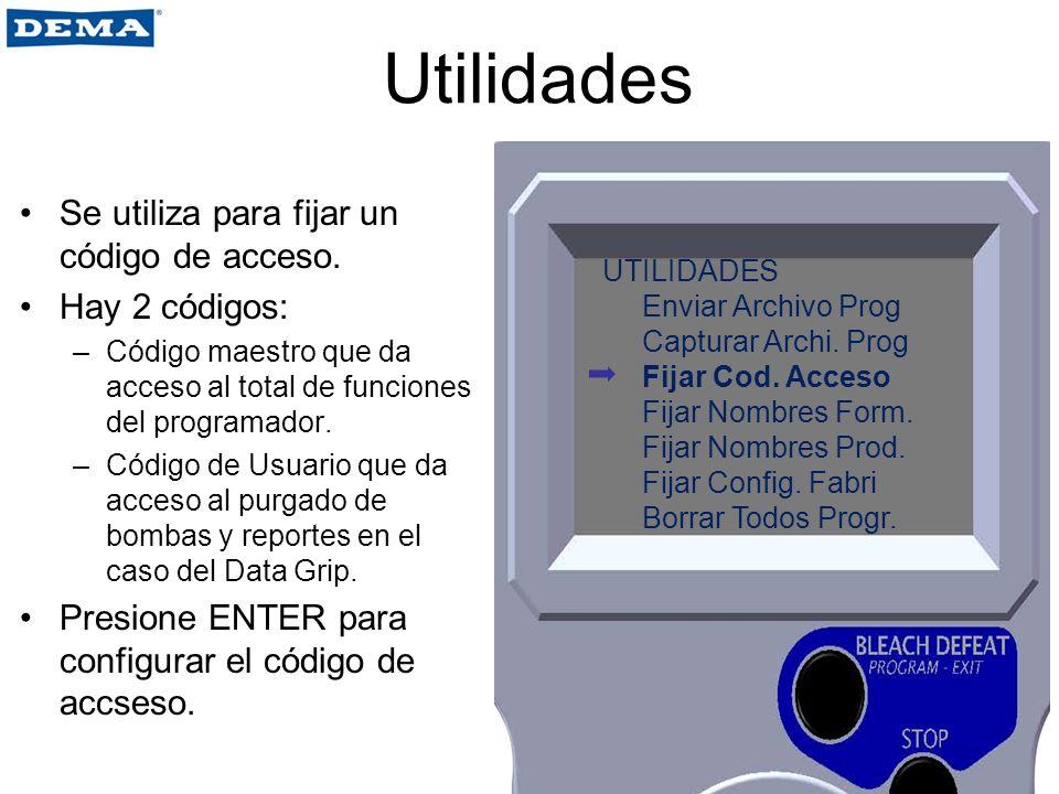 Utilidades Se utiliza para fijar un código de acceso. Hay 2 códigos: