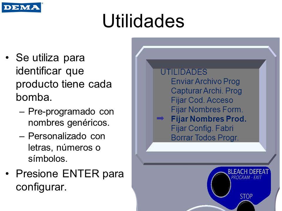 Utilidades Se utiliza para identificar que producto tiene cada bomba.