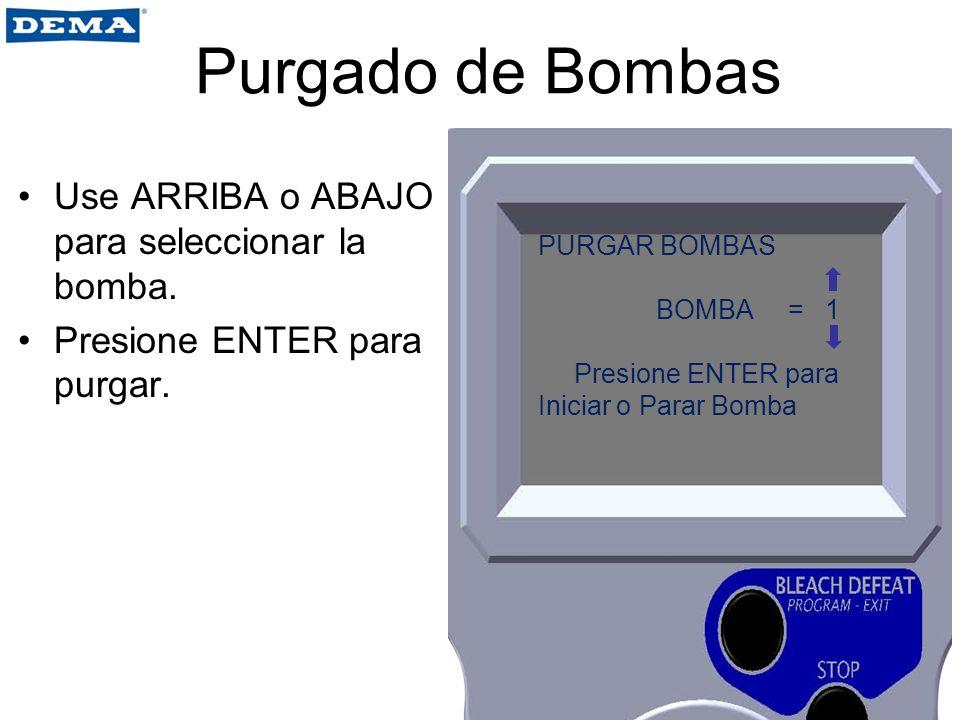Purgado de Bombas Use ARRIBA o ABAJO para seleccionar la bomba.