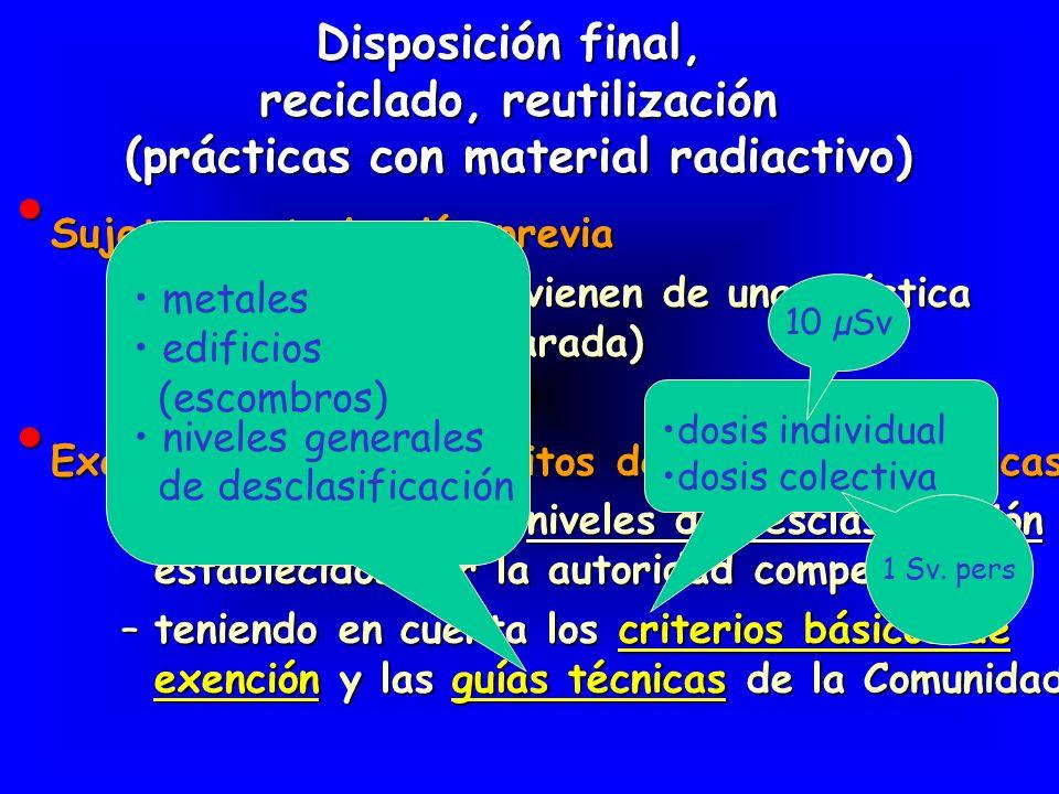 reciclado, reutilización (prácticas con material radiactivo)