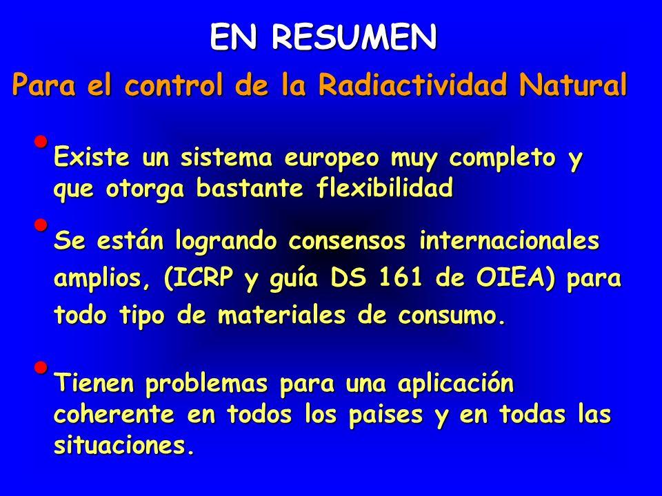 EN RESUMEN Para el control de la Radiactividad Natural