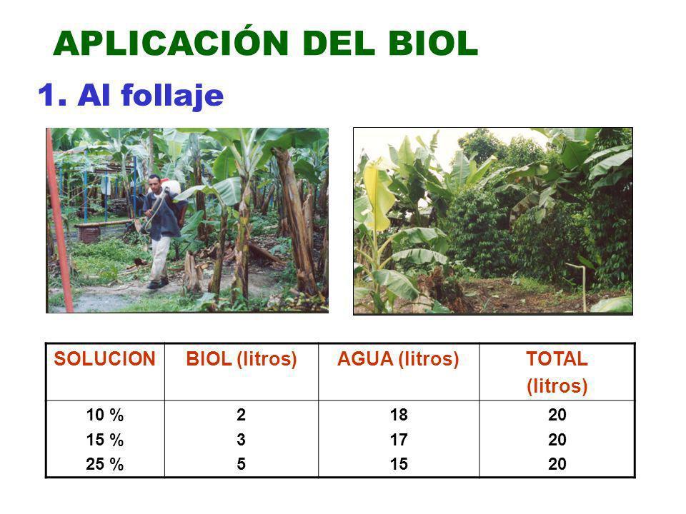 APLICACIÓN DEL BIOL 1. Al follaje SOLUCION BIOL (litros) AGUA (litros)