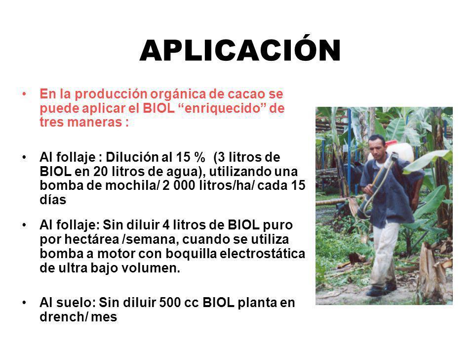 APLICACIÓNEn la producción orgánica de cacao se puede aplicar el BIOL enriquecido de tres maneras :