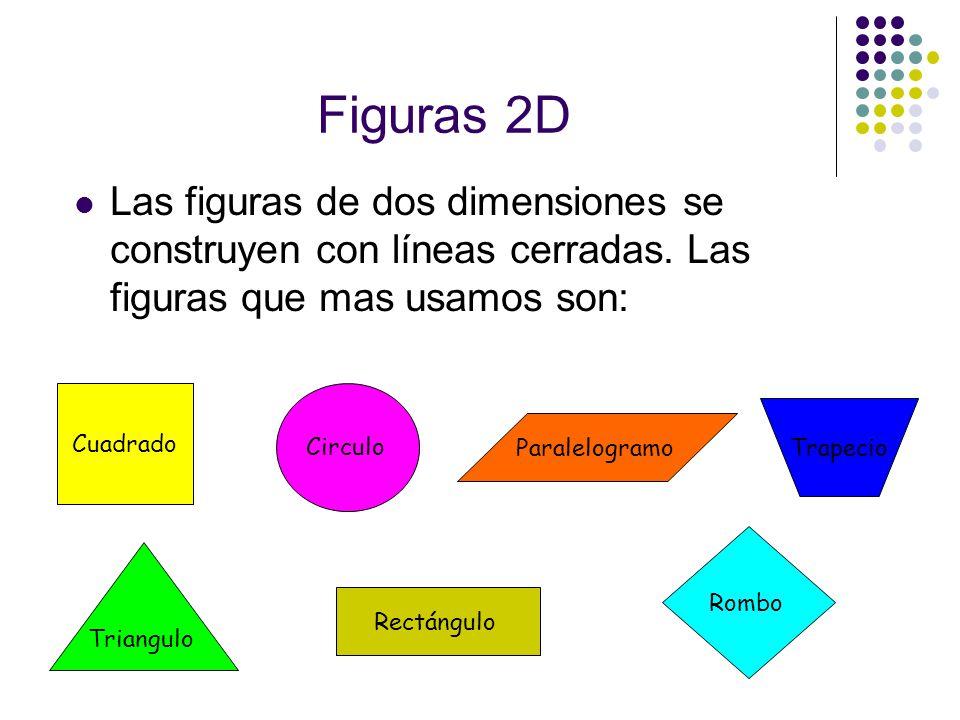 Figuras 2D Las figuras de dos dimensiones se construyen con líneas cerradas. Las figuras que mas usamos son: