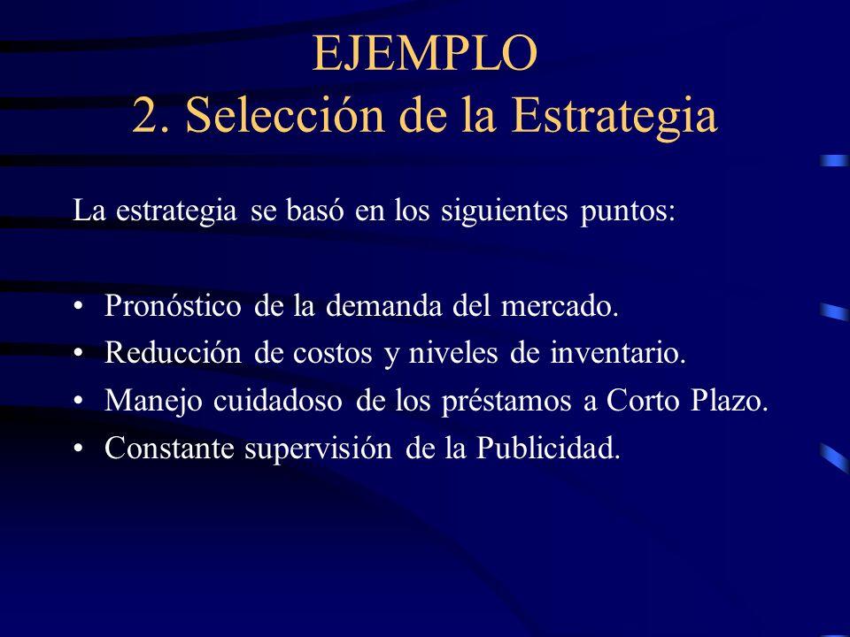 EJEMPLO 2. Selección de la Estrategia