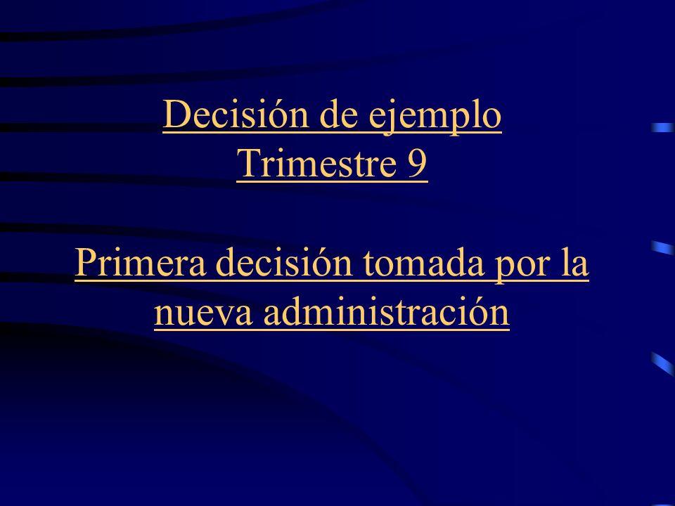 Decisión de ejemplo Trimestre 9 Primera decisión tomada por la nueva administración